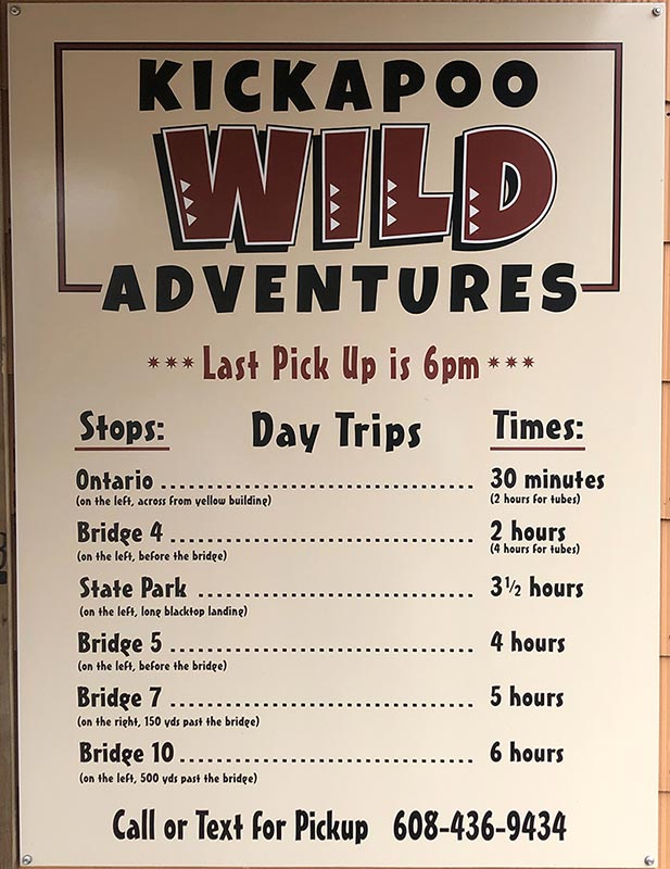 Kickapoo Wild Adventures Stops and Times Sign