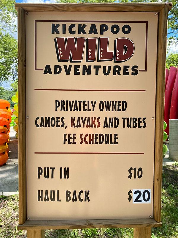 Kickapoo Wild Adventures Shuttle Pricing Signboard